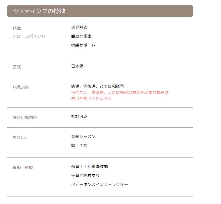 「ピックシッター」公式サイト シッティング特徴