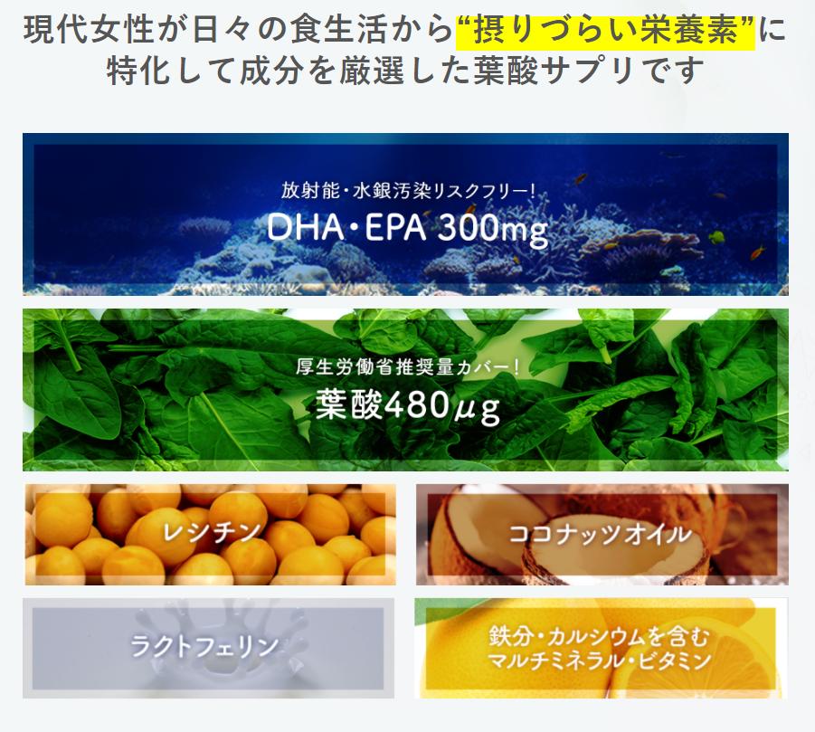 「ノコア葉酸サプリ」は葉酸などの栄養素が豊富