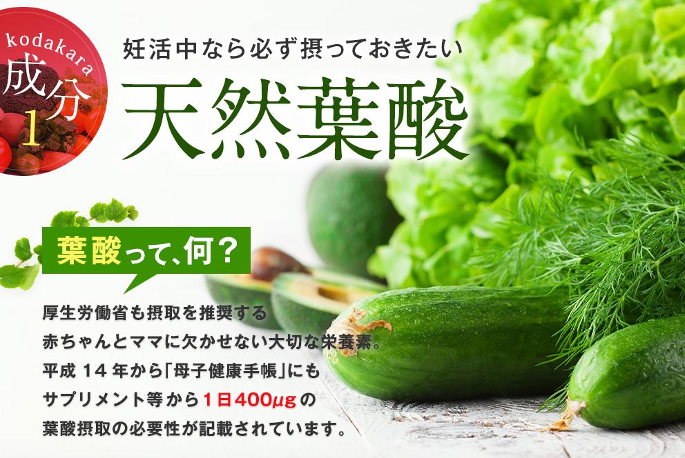 「kodakara(コダカラ)」には天然葉酸が含まれているので安心