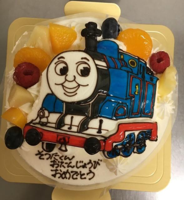 「カトルセゾン菓子夢」のトーマスケーキ